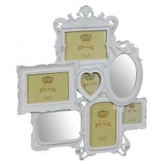 Portafoto multiplo con specchiere da appendere in resina finitura bianca anticata L47xPR2,5xH49 cm
