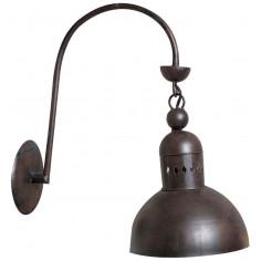 Lampada applique a muro elettrificata in ferro battuto finitura ruggine anticata L42xPR22xH42 cm