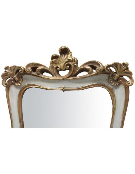Specchiera da appoggio e da appendere 26,5x4,5x37,5 cm finitura oro/bianco anticato