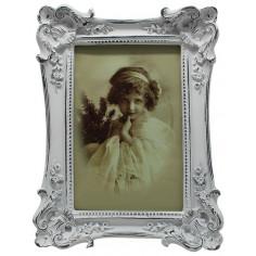 Portafoto da appoggio verticale/orizzontale in resina finitura bianca anticata L15,5xPR3,5xH20,5 cm
