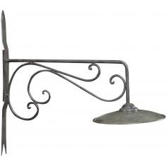 Lampada applique a muro elettrificata in ferro battuto finitura ruggine anticata L26xPR60xH57 cm