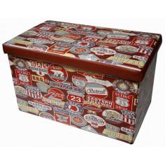 Pouf contenitore richiudibile in ecopelle 60x36x36 cm