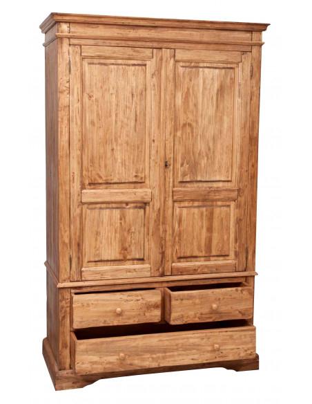 Armadio Country in legno massello di tiglio finitura naturale 120x59x197 cm