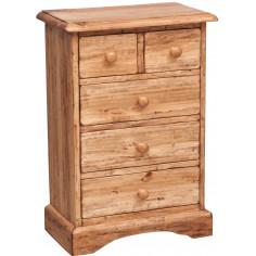Comodino Country in legno massello di tiglio  finitura naturale 51x30x74 cm