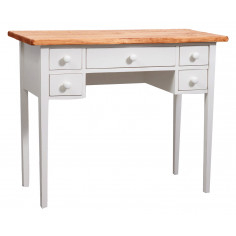 Writing desk in solid linden wood antiqued white structure natural finish by Biscottini.it