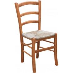 Sedia Country con struttura in faggio finitura naturale e seduta in paglia 45x45x88 cm