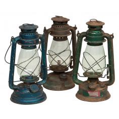 Vecchia lanterna a petrolio in metallo L15xPR15xH32 cm finiture assortite - Biscottini.it
