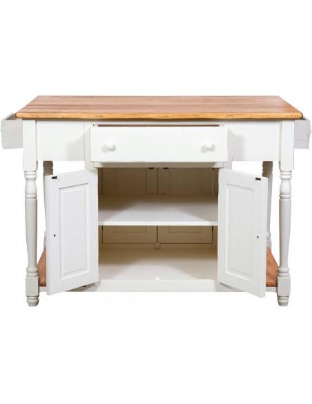 Banco da lavoro bifacciale in legno massello di tiglio struttura bianca anticata piano finitura naturale130x80x88 cm