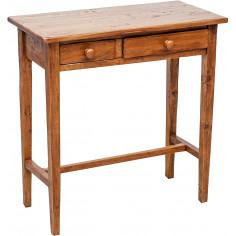 Tavolino consolle Country in legno massello di tiglio finitura noce 73x36x75 cm