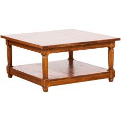 Tavolino da fumo  Country in legno massello di tiglio finitura noce 90x90x45 cm