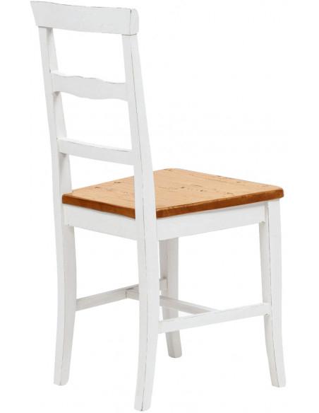 Sedia Country con struttura in faggio finitura bianca e seduta in legno massello di tiglio finitura noce L45xPR43xH92 cm