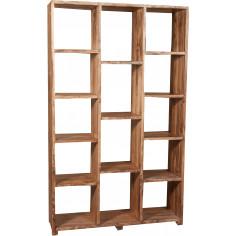 Libreria in legno massello di tiglio finitura naturale 121x36x200 cm