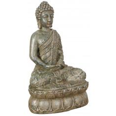 Statua di Buddha in resina finitura oro anticato L36xPR29xH60 cm -Biscottini.it