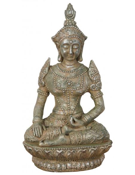 Statua di Buddha in resina finitura oro anticato L42xPR38xH75 cm - Biscottini.it