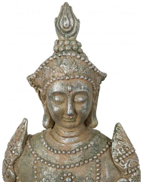 Statua di Buddha in resina finitura oro anticato: foto particolare del volto - Biscottini.it