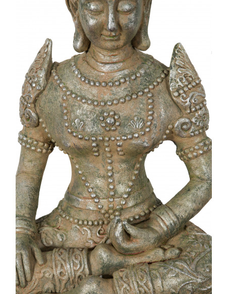 Statua di Buddha in resina finitura oro anticato: foto particolare della parte centrale - Biscottini.it