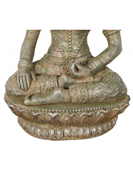 Statua di Buddha in resina finitura oro anticato:  foto particolare della base  - Biscottini.it