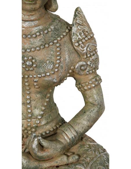 Statua di Buddha in resina finitura oro anticato: foto particolare lato sx - Biscottini.it