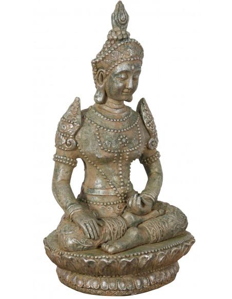 Statua di Buddha in resina finitura oro anticato: foto veduta prospettiva - Biscottini.it