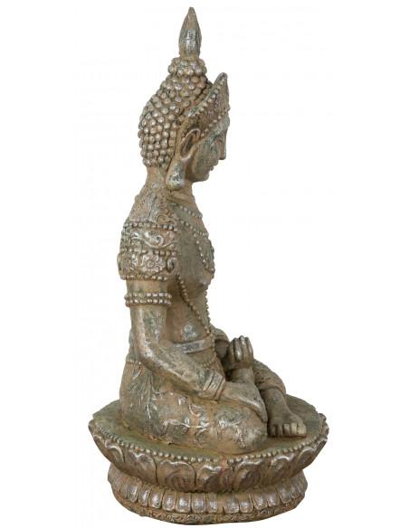 Statua di Buddha in resina finitura oro anticato: foto vista laterale - Biscottini.it