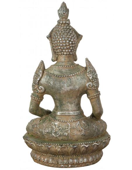 Statua di Buddha in resina finitura oro anticato: foto veduta del retro - Biscottini.it