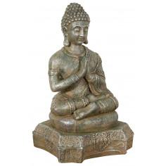 Statua di Buddha in resina finitura oro anticato L43xPR36xH70 cm -Biscottini.it