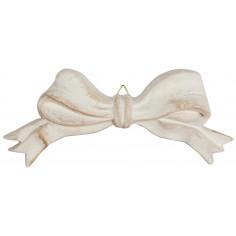 Decoro a forma di fiocco in legno finitura bianco anticato Made in Italy L15xPR2xH6 cm - Biscottini.it