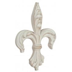 Giglio fiorentino in legno finitura bianco anticato Made in Italy L14xPR2,5xH19 cm - Biscottini.it