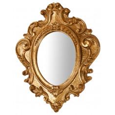 Specchiera da parete in legno finitura foglia oro anticato Made in Italy L32xPR3,5xH38 cm - Biscottini.it