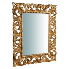 Specchiera da parete verticale/orizzontale in legno finitura foglia oro anticato Made in Italy L74xPR6xH94 cm - Biscottini.it