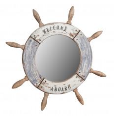 Specchio da parete a forma di timone in legno massello Diam.47XPR2 cm