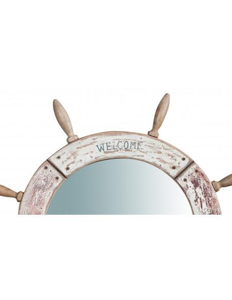 Specchio da parete a forma di timone in legno massello Diam.73XPR3,5 cm