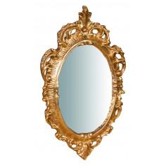 Specchiera da parete in legno finitura foglia oro anticato made in italy L19XPR2XH30 cm