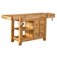 Banco da lavoro Country in legno massello di tiglio finitura naturale 188x78x92 cm. Made in Italy