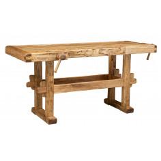 Banco da lavoro Country in legno massello di tiglio finitura naturale 198x88x90 cm. Made in Italy