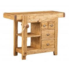 Banco da lavoro Country in legno massello di tiglio finitura naturale L120xPR67xH90 cm. Made in Italy