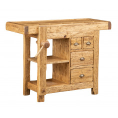 Country-style solid lime wood W120xDP67xH90 cm sized workbench . Made in Italy