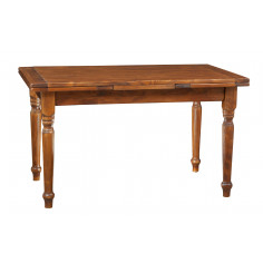 Extendable table in solid linden wood with walnut finish by Biscottini