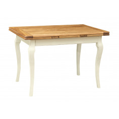 W120xDP80xH80 cm sized lime wood Country style antiqued white finish natural top extensible table . Made in Italy