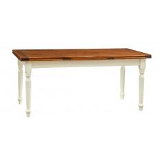 Tavolo allungabile Country in legno massello di tiglio struttura bianca anticata piano noce 180x90x80 cm. Made in Italy