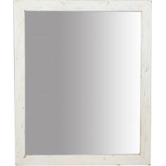 Specchiera rettangolare in legno massello di tiglio finitura crema 48x3x58 cm