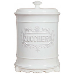 Barattolo ZUCCHERO in porcellana bianca Shabby L16xPR16xH24,5 cm
