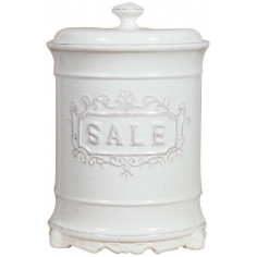 Barattolo SALE in porcellana bianca Shabby L16xPR16xH24,5 cm