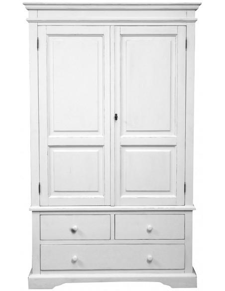 Armadio Country in legno massello di tiglio finitura bianca anticata 120x59x197 cm
