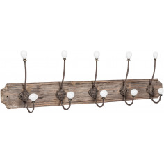 Attaccapanni da parete in legno massiccio e ferro forgiato a mano finitura legno anticato 80x10x21 cm