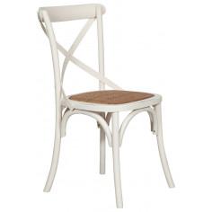 Sedia Thonet in massello di frassino e seduta rattan finitura bianca anticata 46x42x86 cm