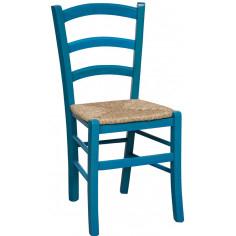 Sedia in legno massello di faggio finitura azzurro laccato con seduta in paglia L45xPR45xH88 cm