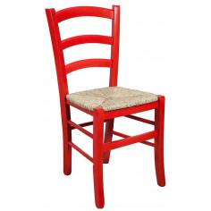 Sedia in legno massello di faggio finitura rosso laccato con seduta in paglia L45xPR45xH88 cm