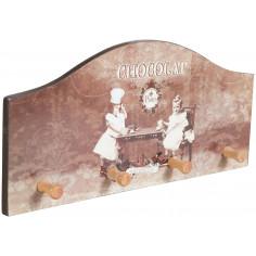 Appendino decorato anticato in legno L29xPR3,5xH14 cm
